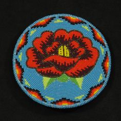 Rose Beaded Belt Buckle Native American Beadwork