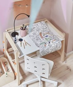 IKEA - FLISAT, Children's desk, adjustable, The desk can be adjusted to three different heights, so it can be used for homework or arts and crafts for many years. The desktop can be tilted to help your child vary their work posture. Furniture Logo, Home Furniture, Furniture Online, Bohemian Furniture, Furniture Stores, Ikea Childrens Desk, White Bedroom Furniture Ikea, Ikea Desk, Ikea Chairs