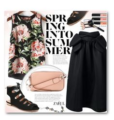 """""""Spring Into Summer"""" by beebeely-look ❤ liked on Polyvore featuring Simone Rocha, Bobbi Brown Cosmetics, Marc Jacobs, Summer, Spring, floralprint, summersandals and zaful"""