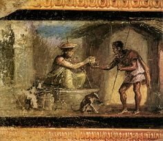 A man buying a potion from a sorceress. A Roman wall-painting from the Houes of the Dioscuri at Pompeii; Museo Archeologico Nazionale, Naples.