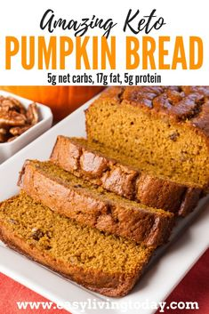 The perfect ketogenic diet snack for the fall. Only net carbs! via Delicious low carb keto pumpkin bread recipe. The perfect ketogenic diet snack for the fall. Only net carbs! Low Carb Bread, Low Carb Keto, Low Carb Recipes, Diet Recipes, Pumpkin Recipes Low Carb, Pumpkin Recipes For Diabetics, Ketogenic Recipes, Recipes With Canned Pumpkin, Paleo Fall Recipes
