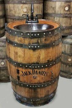Whiskey barrel sink flat back half hammered copper rustic antique bathroom bar man cave wine oak barrel vanity bourbon personalized Man Cave Vanity, Whiskey Barrel Sink, Personalized Whiskey Barrel, Barris, Wine Barrel Furniture, Barrel Projects, Simple Artwork, Man Cave Home Bar, Kitchen Themes