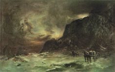 Petrus van der Velden (1837-1913), Storm at Wellington Heads, c. 1908