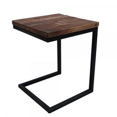 Label 51 Box Laptop tafel 40x40x50 vierkant mango hout metaal zwart onderstel