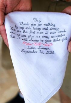 Gift for Dad Wedding Gifts Embroidered Wedding Handkerchief Wedding Gift for Father of the Bride Personalized Custom Gifts