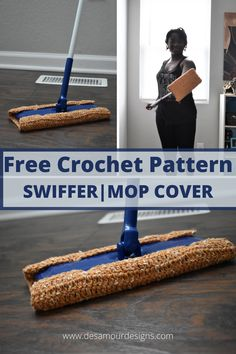 FREE corchet mop|swiffer pad for dry mopping! Free quick and easy pattern. Perfect for stashbusting and beginners. Beginner Crochet Tutorial, Crochet Patterns For Beginners, Crochet Basics, Tunisian Crochet, Free Crochet, Swiffer Pads, Recycled Yarn, Crochet Home Decor, Crochet Accessories