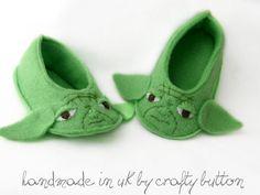 Yoda baby booties - STAR WARS baby felt shoes