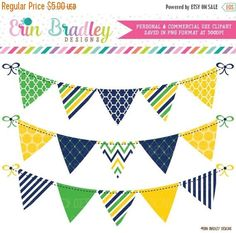 This 3 piece personal & commercial use clipart set includes yellow, blue & green banner flags. Graphics are decorated with polka dots, quatrefoil, stripes & chevron patterns. [ D E T A I L S ] ------------------------------------------- • This is a clipart set for graphic design