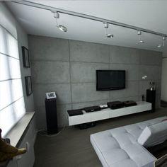 concrete wall with tv Loft Design, House Design, Mandir Design, Tv Wand, Accent Walls In Living Room, White Interior Design, Media Wall, Concrete Wall, Kermit