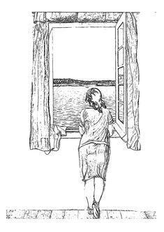 Muchacha en la ventana de Dalí para colorear.