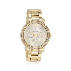 Ross-Simons - Louis Arden Women's 42mm Goldtone Watch With Crystals - #LSAP12