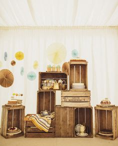Wood crate sweets display