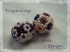 Picture tute - how to cover 12mm wood beads using delicas and toho 15/o.   Very little to translate.  #Seed #Bead #Tutorials