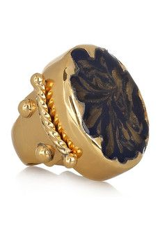 Gold-plated enamel ring by Yves Saint Laurent