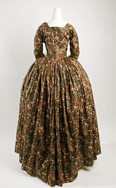 British Robe à l'Anglaise made with a brown chintz. 1780-85. Back detail shows myriad gathers which add volume to the rear and hips.