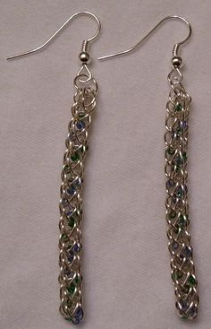 Silver Plated Viking Knit Earrings with Green by BraceletsByJoy