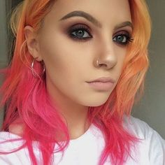 19 ideas for hair color pink orange eye makeup Hair Inspo, Hair Inspiration, Orange Eye Makeup, Hair Color Pink, Orange And Pink Hair, Hair Colors, White Hair, Look At My, Multicolored Hair