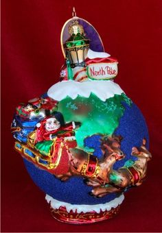 Midnight Trip Around the Globe Radko Limited Edition Personalized Christmas Ornament
