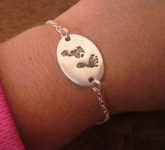 TWO SIDED baby footprint bracelet made from your baby's footprint - fine silver- custom and personalized My Baby Girl, Our Baby, Baby Boys, Leyla Rose, Little Presents, Shower Bebe, Baby Footprints, Diy Schmuck, Everything Baby