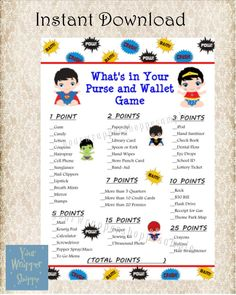 INSTANT DOWNLOAD Superhero Baby Shower - Super Hero What's In Your Purse and Wallet Game - Printable DIY