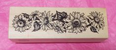 Sunflower border rubber stamp PSX G-2003 Wood mounted flowers Card making Scrapbooking Journaling Mail art Flowers 1996 Vintage stampsg by NoodlesNotions on Etsy