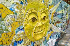 """Ethel Koeppe, a former art teacher at Affton High School, has been working on a mosaic mural called """"Heavenly Bodies"""" on the back of her home in Webster Groves for 40 years."""