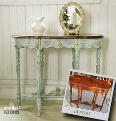 Antique Vintage Side Entry Table Gets an Aqua Blue Facelift by Prodigal Pieces www.prodigalpieces.com #prodigalpieces