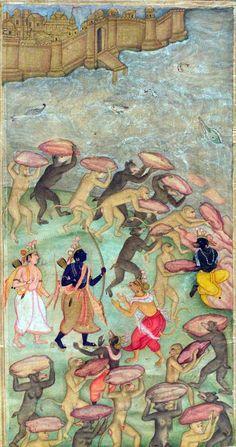 Vanaras help Rama build a bridge