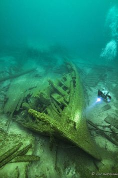 The St. Albans shipwreck in lake Michigan, by photographer Cal Kothrade.  Prints available.
