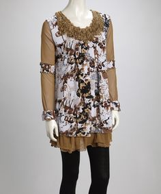 Take a look at this Brown & Cream Butterfly Ruffle Linen-Blend Long-Sleeve Tunic by Pretty Angel on #zulily today!