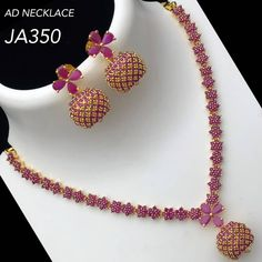 Photo by Glister jewelz on March Image may contain: possible text that says 'AD NECKLACE Gold Necklace Simple, Gold Jewelry Simple, Gold Bangles Design, Gold Jewellery Design, Ruby Necklace Designs, Ruby Bangles, Ruby Earrings, Ruby Jewelry, Jewelry Necklaces