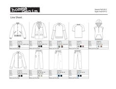 Line Sheet for Men's Wear Line  Line sheet for men's wear line. The flats were done in Adobe Illustrator and the layout was done in Excel.   Line sheet |  fashion design |  tech pack |  technical flats |  technical sketches |  fashion  |  men's wear |  illustrator sketches