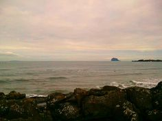 View toward Bass Rock from beach in North Berwick in East Lothian