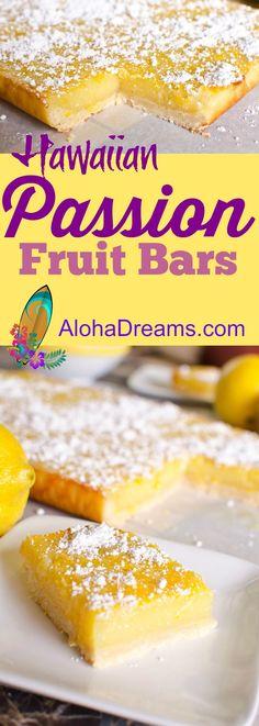 These luscious Hawaiian Passion Fruit bars are a perfect Hawaiian Luau recipe! Pureed Food Recipes, Healthy Dessert Recipes, Just Desserts, Delicious Desserts, Recipes With Fruit Puree, Detox Recipes, Yummy Food, Jai Faim, Passionfruit Recipes