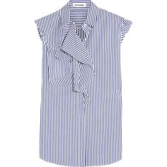 Jil Sander Ruffled cotton-poplin top (3.110 VEF) ❤ liked on Polyvore featuring tops, blouses, blue, stripe top, flutter top, blue ruffle blouse, striped top y striped blouse