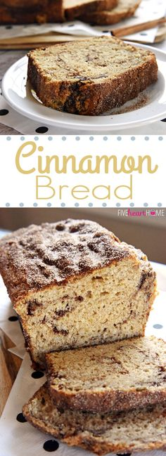 Cinnamon Bread (no-yeast quick bread) ~ soft and sweet, this easy recipe is a tasty treat for breakfast or as a snack...and since it yields multiple loaves, it's also perfect for holiday (or anytime) gift giving! (PLUS, dress up your homemade food gifts with the free printable Christmas or holiday gift tags included in this post!) | FiveHeartHome.com