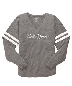 Grey Delta Gamma Jersey with sorority name on front.