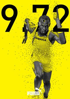 The colour scheme used links in well with the Jamaican national colours and also the puma symbol. Sports Graphic Design, Graphic Design Posters, Graphic Design Typography, Graphic Design Inspiration, Bold Typography, Web Design, Layout Design, Creative Design, Design Art