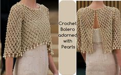 ergahandmade: Crochet Bolero with Pearls + Diagrams + Pattern Step By Step + Video Tutorial