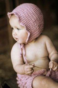 Little Baby Ruffle Bonnet.