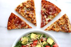 This recipe pairs CPK pizzas with a refreshing avocado citrus salad, and it's perfect for a big group. Pizza Sides, How To Make Pizza, Oven Racks, Large Bowl, Vegetable Pizza, Dorm, Spinach, Avocado, Friday