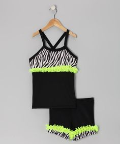 Take a look at this Lexu-Luu Black & Lime Zebra Tank & Shorts - Toddler & Girls by Lexi-Luu Designs on #zulily today!