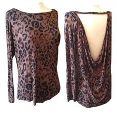 Veronica M long sleeved leopard shirt. Veronica M long sleeved leopard shirt. Low back with tie across the neck.  Tie does not come off. There is a tiny hole on the upper right side of the shirt. See photo. Size: small. Thin, drapery fabric. Veronica M Tops Blouses