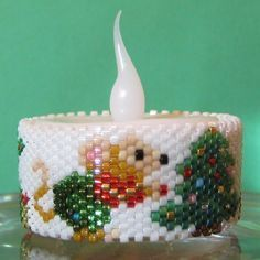 Beaded Mouse & Christmas Tree Tea Light Cover / Napkin Ring | Bead-Patterns.com