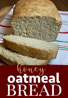 The BEST Homemade Bread recipe! This homemade honey oatmeal bread recipe will be a family favorite in no time! Oatmeal Bread Recipe, Easy French Bread Recipe, Wheat Bread Recipe, Easy Bread, Bread Maker Recipes, Healthy Bread Recipes, Healthy Breads, Healthy Baking, Easy Recipes