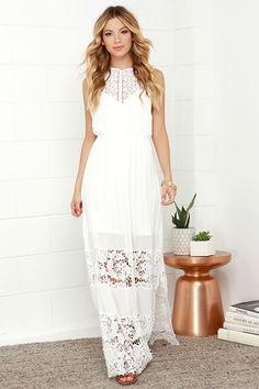 Dashing Dame Ivory Lace Halter Maxi Dress at Lulus.com!