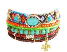 OOAK Native Swarovski Thunderbird Neon Friendship Bracelet Turquoise Jewelry Set of 7,bohemian indian,Ethnic aztec multiple strands