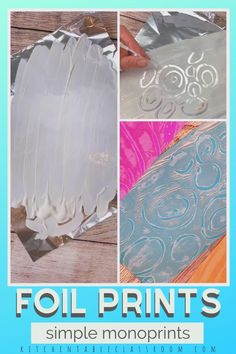 Foil Prints- Easy Monoprints Learn how to make easy monoprints with this easy printmaking idea for kids! Toddler Art Projects, Art Projects For Teens, Art Education Projects, School Art Projects, Art For Kids, Kids Education, Art Education Lessons, Art Therapy Projects, Kid Art