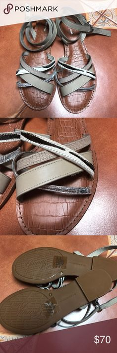 Gianni Bini Sandals These beautiful ankle wrap sandals are brand new without the box! Beautiful neutral shades of taupe, silver and print in dyed calf hair make these sandals a perfect classic summer shoe! No trades Gianni Bini Shoes
