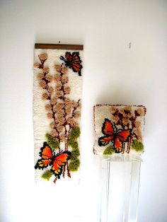"""Vintage Mid Century Modern Hook Rug Wall Hanging and Matching Throw Pillow - Butterfly Woven Yarn Wall Hanging - 45"""" Fiber Art - Home Decor on Etsy, $55.00"""